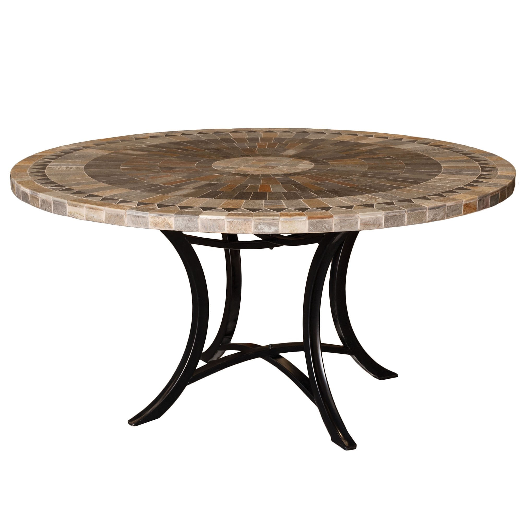 Sunray Slate Stone Round Outdoor Dining Table, Minerva Base, 120cm