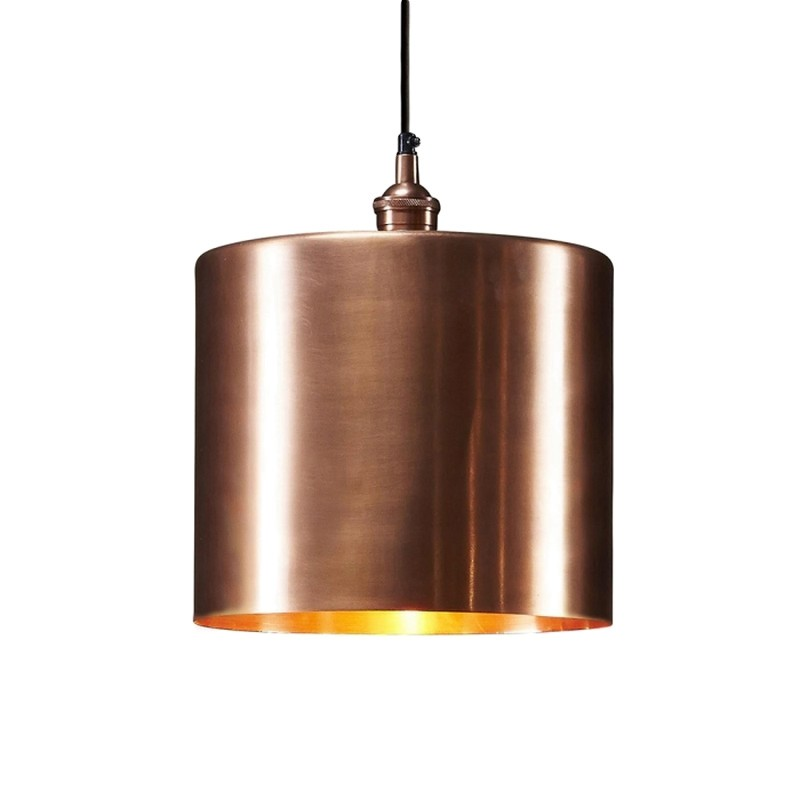 Zurich II Metal Drum Pendant Light, Large, Antique Copper