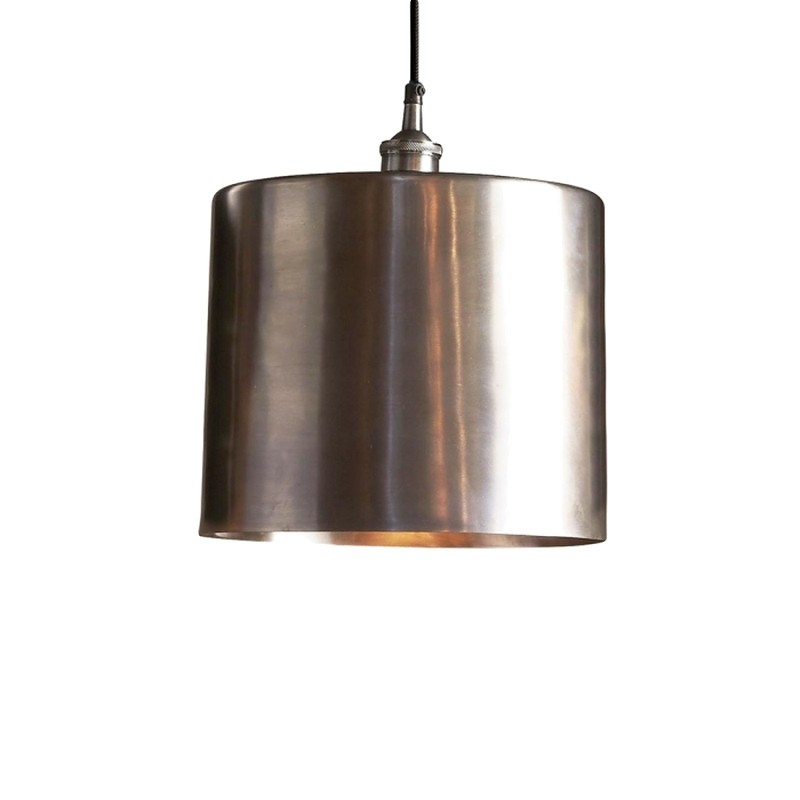 Zurich II Metal Drum Pendant Light, Large, Antique Silver