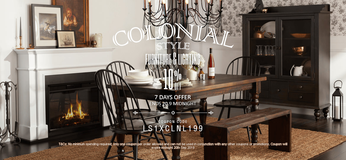 10% Off Colonial Style Furniture & Lighting