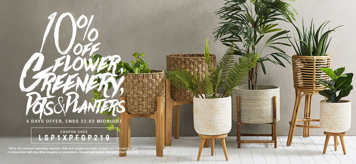 10% Off Flowers & Greenery + Pots & Planters